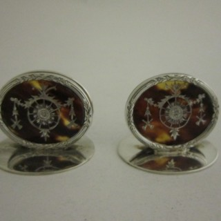 Antique George V Sterling silver and tortoiseshell menu holders
