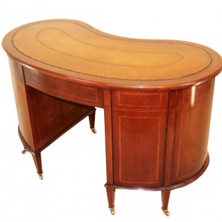 Mahogany 19th Century Kidney Shaped English Antique Writing Desk