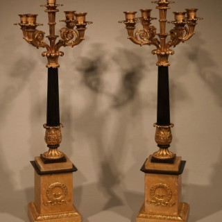 Pair of early 19th Centutry bronze & ormolu 5-light Candelabra