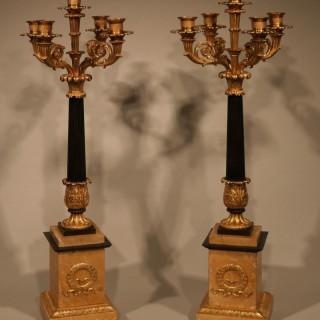 Pair of early 19th Centutry bronze & ormolu 5-light Candelabra