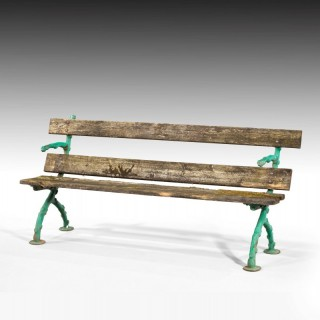 An Attractive and Well Worn Victorian Period garden Bench
