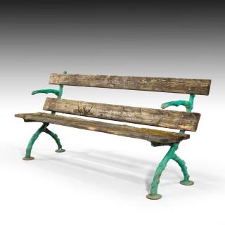 An Attractive and Well Worn Victorian Period garden Bench
