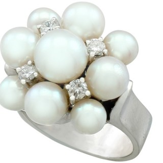 Pearl and 0.31ct Diamond, 14ct White Gold Dress Ring - Vintage Circa 1960