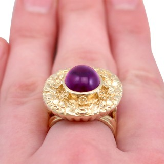 3.77ct Amethyst and 9ct Yellow Gold Dress Ring - Vintage 1972