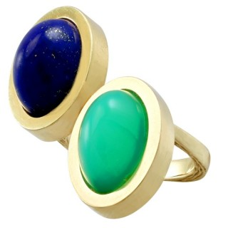 3.83ct Chrysoprase and 4.02ct Lapis Lazuli, 14ct Yellow Gold Dress Ring - Vintage Italian Circa 1970