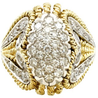 1.12ct Diamond and 18ct Yellow Gold Dress Ring - Vintage Italian Circa 1950