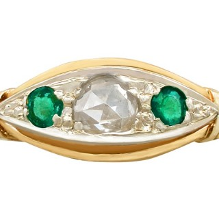0.18ct Emerald and 0.30ct Diamond, 18ct Yellow Gold Dress Ring - Antique Circa 1930