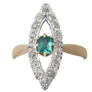 0.32 ct Emerald and 0.48 ct Diamond, 14 ct Yellow Gold Dress Ring - Antique Dutch Circa 1890