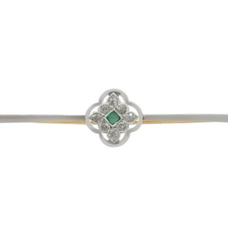 0.27ct Diamond & Emerald, 9ct Yellow Gold & Platinum Bar Brooch - Antique Circa 1910