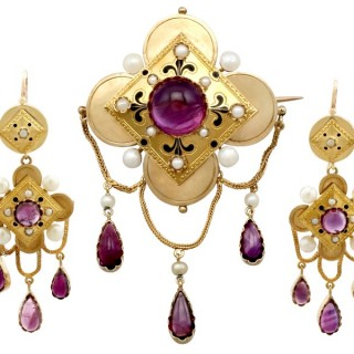11.54ct Amethyst and Pearl, 18ct Yellow Gold Jewellery Suite - Antique French Circa 1880