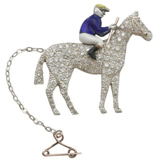 2.55 ct Diamond and Enamel, 9 ct Yellow Gold 'Horse and Jockey' Brooch - Antique Victorian