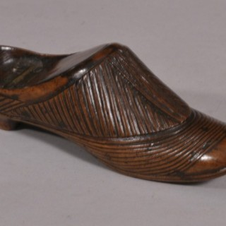 Antique Treen 19th Century Table Top Fruitwood Snuff Shoe