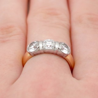 2.13ct Diamond and 18ct Yellow Gold, Platinum Set Trilogy Ring by Tiffany & Co - Contemporary 1999