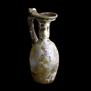 Roman Iridescent Glass Jug with Handle