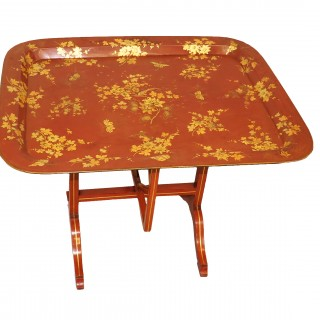 Mid 19th Century Red English Papier Mache Tray Table On Stand
