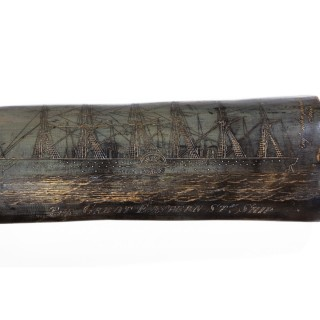 A rare scrimshaw decorated horn