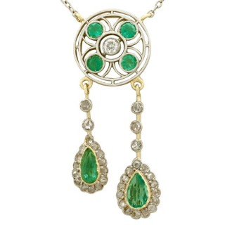 1.32ct Emerald and 0.51ct Diamond, 15ct Yellow Gold Necklace - Antique Circa 1910