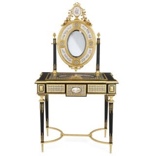 Louis XVI style gilt bronze and porcelain dressing table