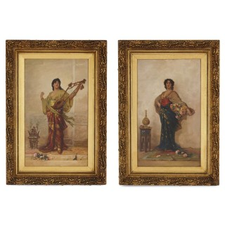 Pair of figurative Orientalist oil paintings by Hill