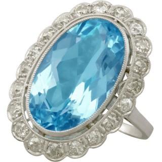 Antique 1930s 7.28ct Aquamarine and 1.30ct Diamond Platinum Dress Ring