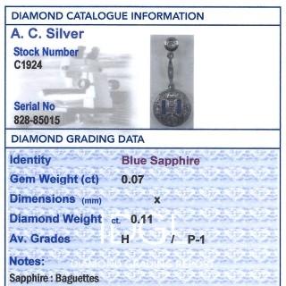 Sapphire and 0.11ct Diamond, 14ct Yellow Gold Pendant - Art Deco - Antique Circa 1930