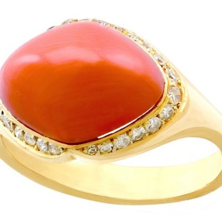 3.67ct Pink Coral and 0.26ct Diamond, 18ct Yellow Gold Dress Ring - Vintage Circa 1980