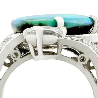 5.08ct Opal and 2.49ct Diamond, Platinum Dress Ring - Vintage Circa 1950