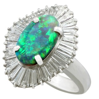 1.86ct Opal and 3.22ct Diamond, Platinum Dress Ring - Contemporary Circa 2000
