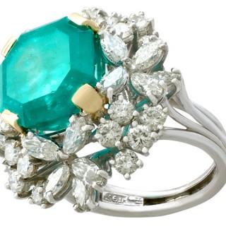 8ct Emerald and 3.25ct Diamond, Platinum Cluster Ring - Vintage Circa 1990