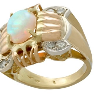 1.55ct Opal and 0.52ct Diamond, 18ct Yellow, Rose and White Gold Dress Ring - Vintage Circa 1940