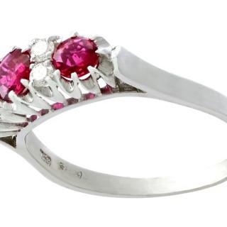1.24ct Ruby and 0.24ct Diamond, 18ct White Gold Half Eternity Ring - Vintage Italian Circa 1950