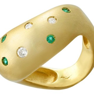 0.13ct Emerald and 0.15ct Diamond, 18ct Yellow Gold Dress Ring - Vintage Circa 1960