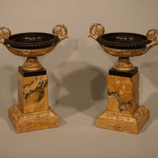 Pair of early 19th Century bronze & ormolu Tazzas
