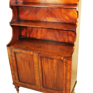 Georgian Mahogany Waterfall Bookcase On Cupboard