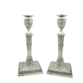 Pair of Antique Victorian Sterling Silver Candlesticks 1894