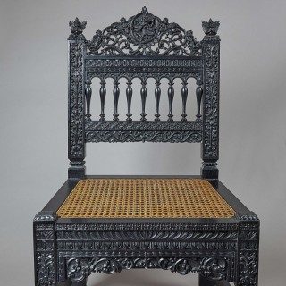 Finely carved 19th Century Anglo-Indian Side Chair