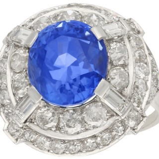 Antique 8.80ct Ceylon Sapphire and 2.68ct Diamond 18ct White Gold Cocktail Ring Circa 1935