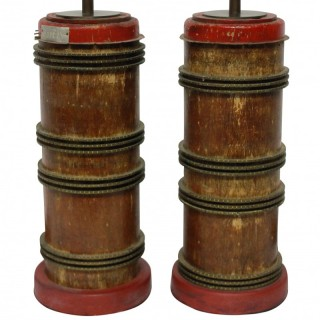 A PAIR OF VICTORIAN PRINT ROLLER LAMPS