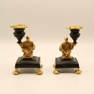Pair of mid 19th Century bronze & ormolu