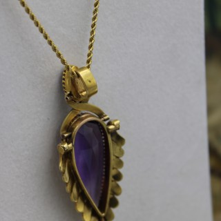 Unusually Large Amethyst & Seed Pearl Pendant, English Circa 1890