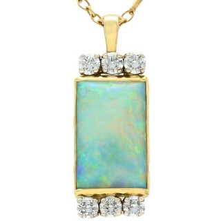 Vintage 1980s 3.18ct Opal and 0.63ct Diamond 18ct Yellow Gold Pendant