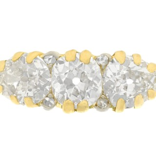 2.61 ct Diamond and 18 ct Yellow Gold Trilogy Ring - Antique Circa 1900