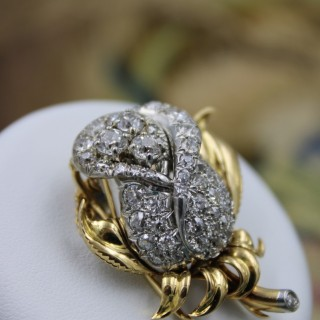 A very fine 18ct Yellow Gold (Marked) Petochi Diamond Rose Brooch Circa 1930