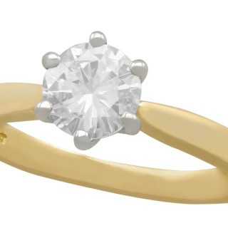 0.91 ct Diamond and 18 ct Yellow Gold Solitaire Ring - Contemporary Circa 2000
