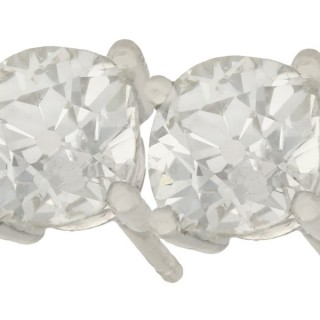 2.12ct Diamond and Platinum Stud Earrings - Antique and Contemporary