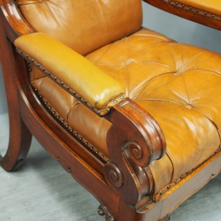 Pair of George IV Tan Leather Armchairs