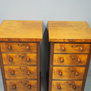 Pair of Victorian Walnut Bedsides