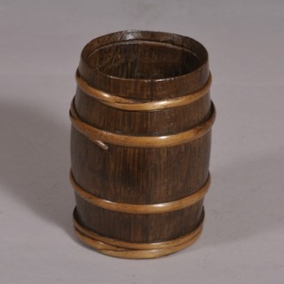 Antique Treen 19th Century Staved Oak Open Barrel