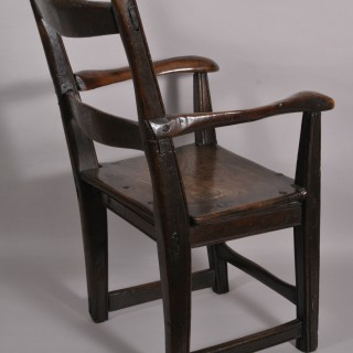 Antique Georgian Period Child's Armchair in Oak, Elm and Yew Wood