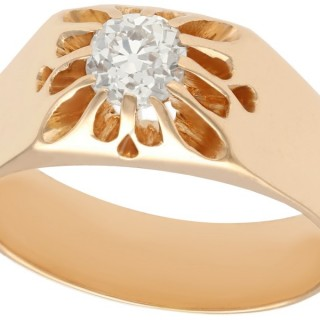 0.58ct Diamond and 14ct Rose Gold Solitaire Ring - Antique Circa 1920